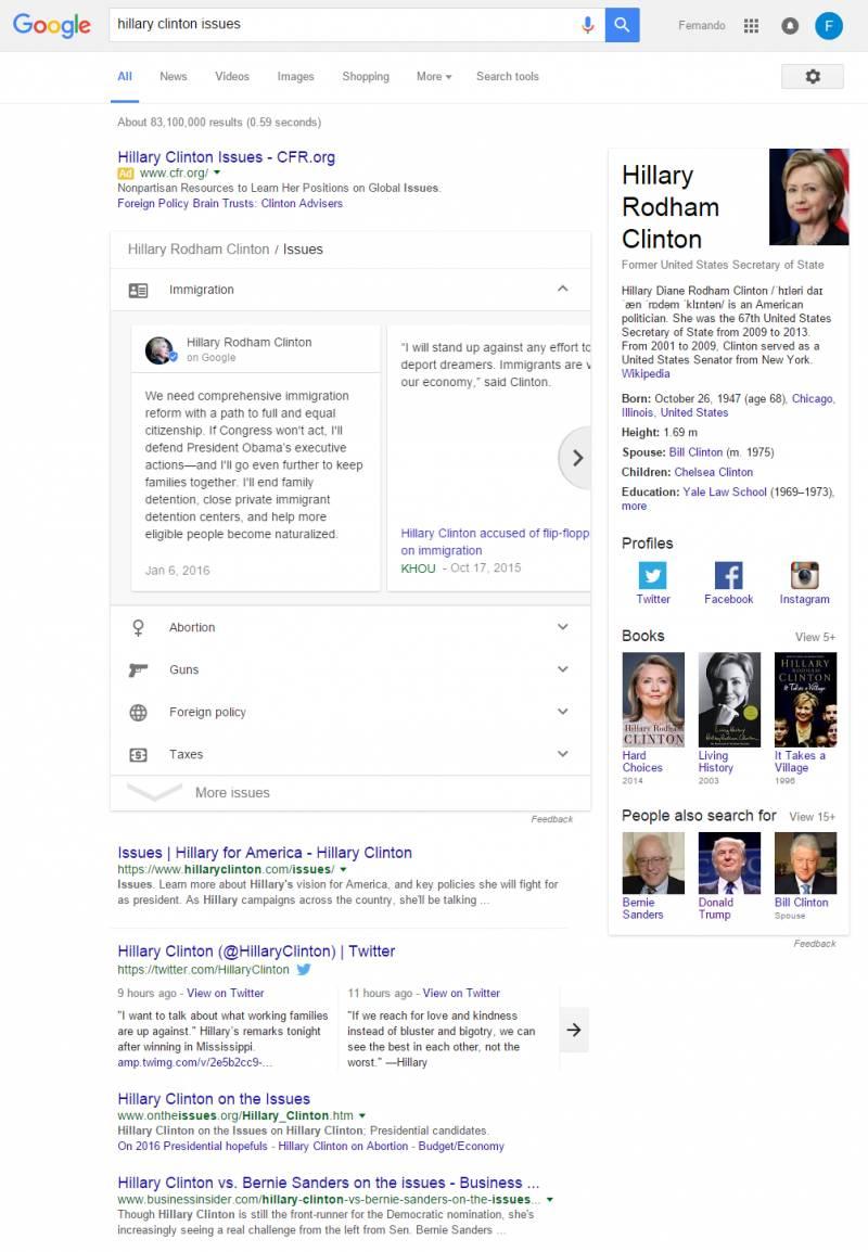 Demostração do Google Posts pesquisando sobre Hillary Clinton